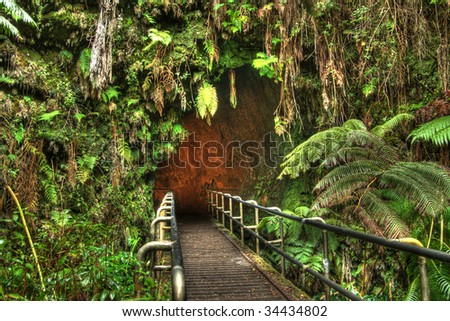Entrance of the Turston Lava Tube in Hawaii Volcano National Park. HDR image created by combining three exposures. - stock photo