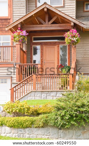 Entrance of townhouse in North Vancouver, Canada. - stock photo