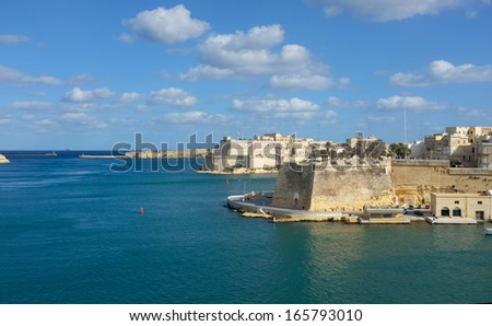 entrance port of Valletta - Grand harbor waterfront - stock photo