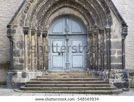 Entrance portal of the Peterskirche church in the twon of Goerlitz, Germany