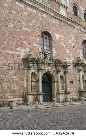 Entrance portal, St. Peter's church in Riga, Latvia