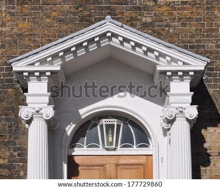 Entrance portico to a fine 18th century Georgian period London town house.