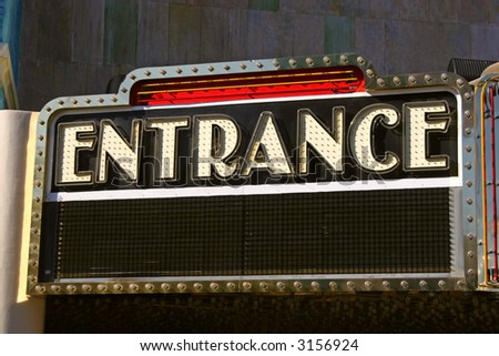 Entrance sign on retro theater marquee in Las Vegas, Nevada. - stock photo