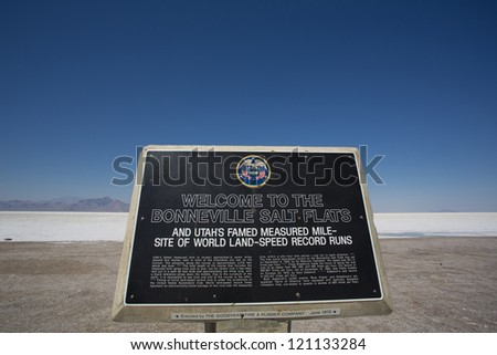 Entrance sign to the Bonneville Salt Flats Recreation Area Utah USA - stock photo
