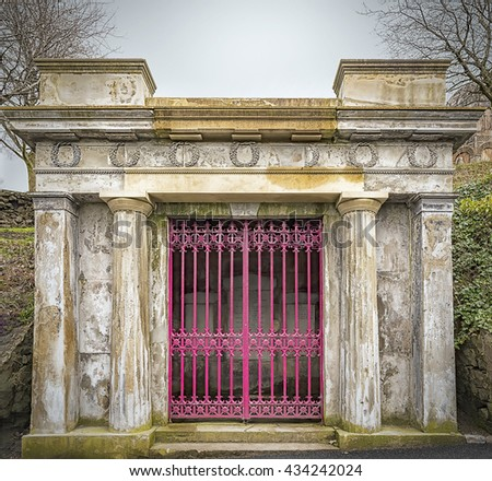 Entrance to a crypt in the necropolis graveyard in Glasgow, Scotland. - stock photo