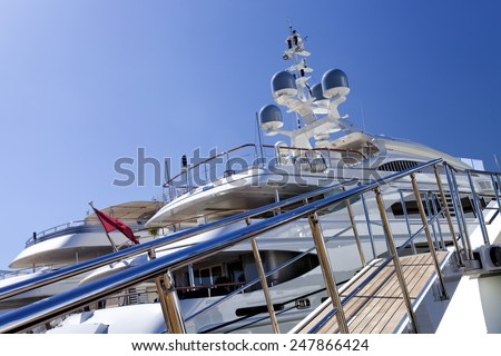 Entrance to a modern private luxury yacht - stock photo