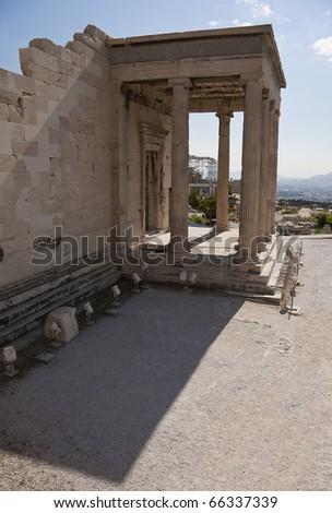 Entrance to Acropolis at Athens, Greece, Europe - stock photo