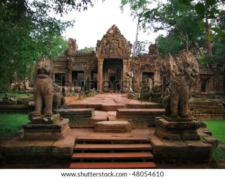 Entrance to amazing ruins of Preah Khan Temple (12th Century) in Angkor Wat (Siem Reap, Cambodia).