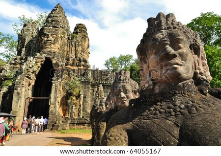 Entrance to Angkor thom at Siem Reap, Cambodia - stock photo