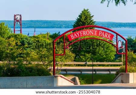 Entrance to Bayfront Park under the highway in Petoskey, Michigan, on Little Traverse Bay off Lake Michigan - stock photo