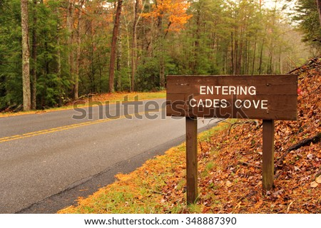 Entrance to Cades Cove in Great Smokey Mountains National Park, Tennessee