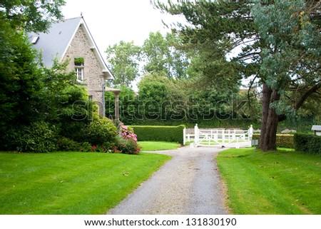 Entrance to Castle de Nacqueville (Chateau de Nacqueville), Normandy, France - stock photo