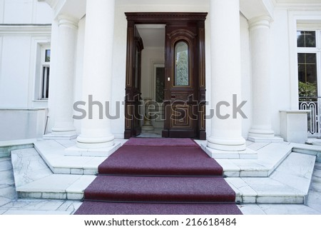 Entrance to classic styled villa