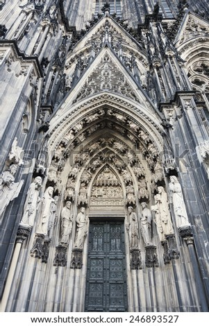 Entrance to Cologne Cathedral Dom. Cologne, North Rhine-Westphalia, Germany