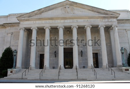 Entrance to Constitution Hall in Washington, DC.