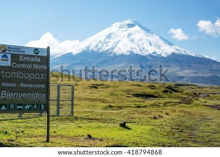 Entrance to Cotopaxi National Park in Ecuador - stock photo