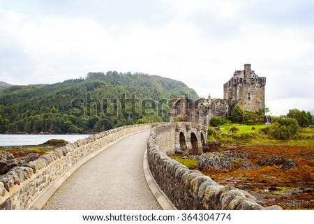 Entrance to Eilean Donan Castle, Scotland. - stock photo