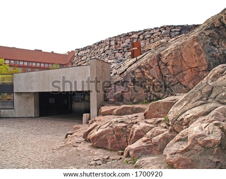 Entrance to Finnish stone church - stock photo