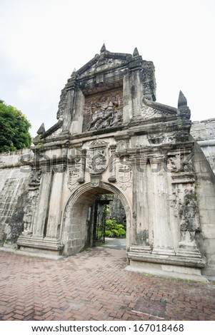 Entrance to Fort Santiago in the Intramuros; Manila; Philippines - stock photo