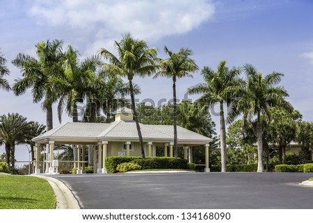 Entrance to gated community in Naples, South Florida - stock photo