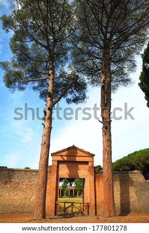 Entrance to Grande Palestra in ancient Pompeii, Italy - stock photo
