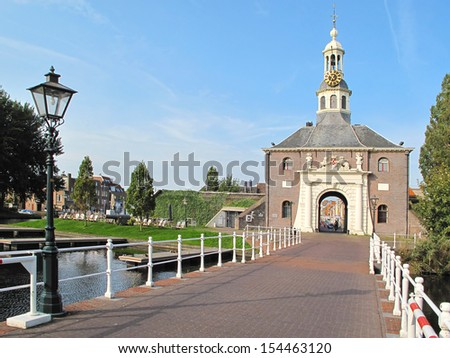 Entrance to historic centre of city Leiden in Netherlands, Europe. - stock photo
