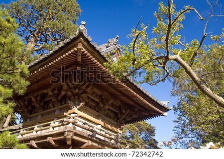 Entrance to Japanese Tea Garden in the shape of wooden pagoda. San Francisco. California. - stock photo