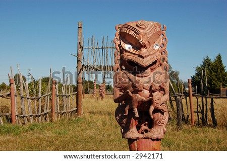 Entrance to Maori Stockade - stock photo