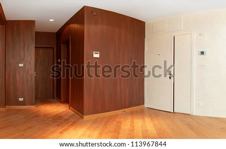Entrance to  modern apartment with brown walls - stock photo