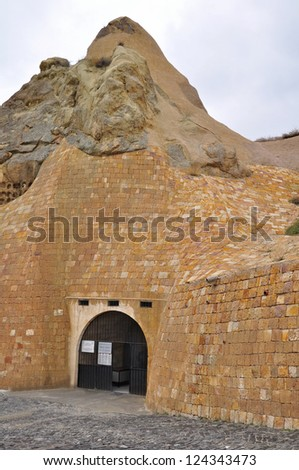 Entrance to one of the better preserved Churches at Goreme Turkey