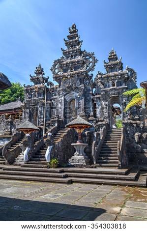 Entrance to Pura Besakih Balinese temple - stock photo