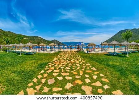Entrance to Scenic Antisamos Beach in Kefalonia Island, Greece - stock photo
