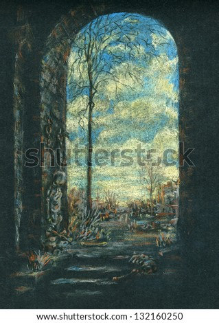 Entrance to the ancient ruins. Fantasy art, ancient ruins. Color pastels on black textured paper.