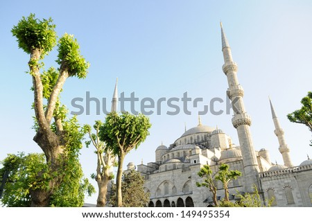 Entrance to the Blue Mosque, Sultanahmet, in Istanbul, Turkey on a sunny day