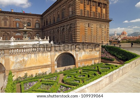 entrance to the Boboli Gardens in Florence with view of Pitti Palace and the cityscape on the background, Unesco World Heritage site - stock photo