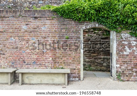 Entrance to the castle gardens, seen in Rye, Kent, UK. - stock photo