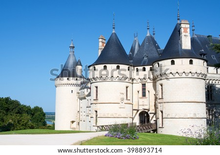 Entrance to the castle of Chaumont Sur Loire, Loire Valley, France. Originally built in the 10th century, has undergone multiple renovations until reaching its present appearance. - stock photo