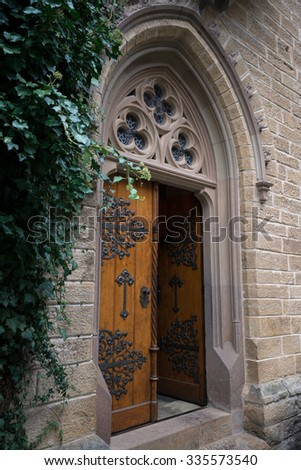 Entrance to the chapel at Hohenzollern Castle, Germany - stock photo