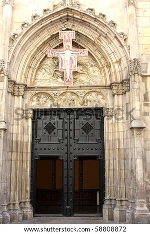 Entrance to the church - stock photo