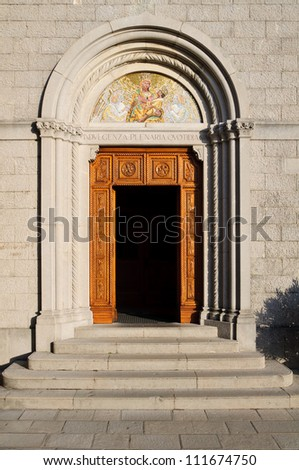 Entrance to the church in Castelmonte  sanctuary of Virgin Mary, Cividale del Friuli. Udine, Italy