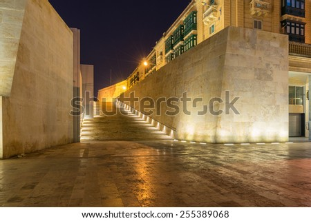Entrance to the city gates of Valletta - stock photo