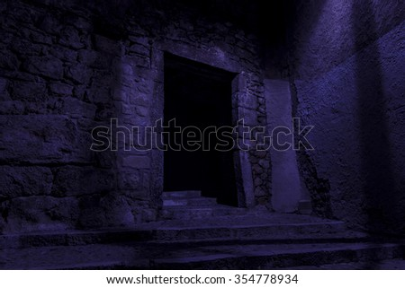 entrance to the dungeon - stock photo