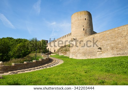 Entrance to the fortress of Ivangorod - stock photo