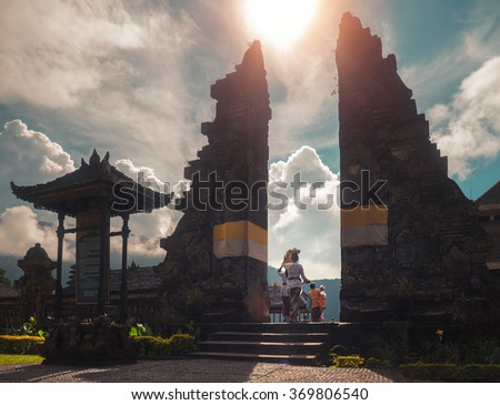 Entrance to the Hindu temple. Bali, Indonesia - stock photo