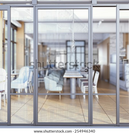 Entrance to the restaurant. 3d rendering - stock photo
