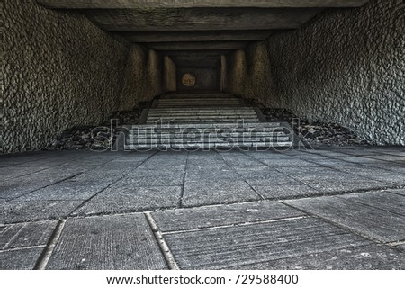 entrance to the tunnel, long staircase,stone staircase
