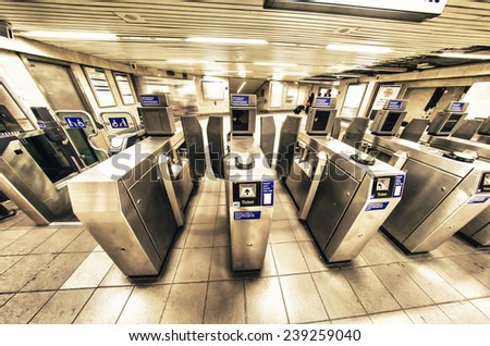Entrance to the underground station, London. - stock photo