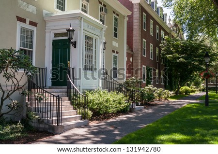 Entrance to the Wilder Hall of the Harvard Business School in Boston, USA - stock photo