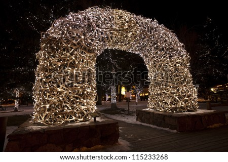 Entrance to town square in Jackson Hole Wyoming.  Winter display - stock photo