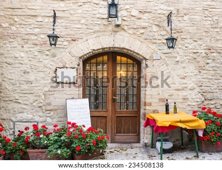 Entrance typical Italian restaurant - stock photo